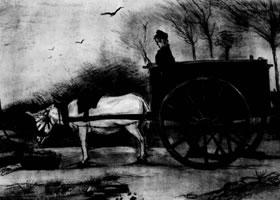 梵高《驴车》经典素描欣赏
