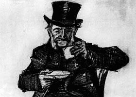 梵高《喝咖啡的老人》经典素描
