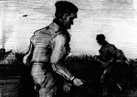 梵高《两个播种者》经典素描欣赏