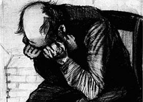 梵高《疲倦》经典素描欣赏