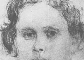 谢洛夫《奥尔格•楚尼科娃肖像》经典素描