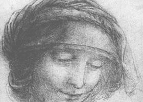 达芬奇《圣安妮的头部肖像》经典素描