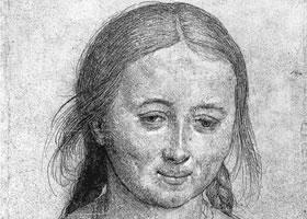 荷尔拜因《年轻女子半身像》经典素描
