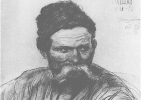 列宾《哥萨克人肖像》经典素描欣赏