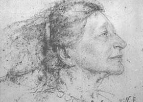 费欣《费丽达•劳伦斯肖像》经典素描欣赏