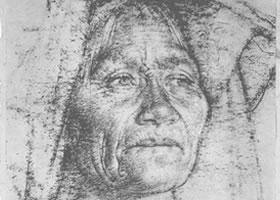 费欣《拉•阿布拉肖像》经典素描欣赏