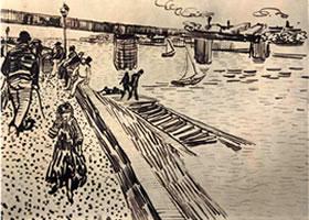 文森特•凡•高《河畔的铁桥》素描欣赏
