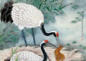 梁燕生《哺育》工笔花鸟画欣赏