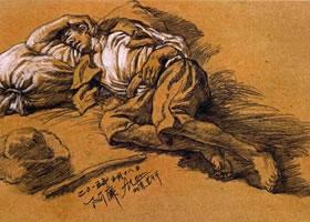 列宾《躺着睡觉的男子》临摹创作