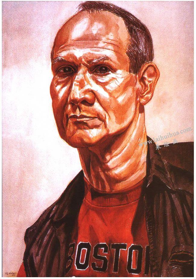 帕尔斯坦《穿红衣服的男人》水彩画高清大图