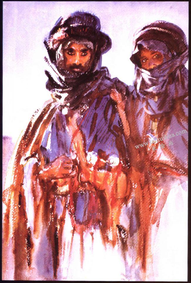 沙金特《阿拉伯人》水彩画高清大图