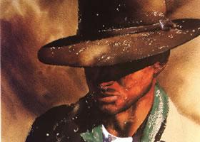 威廉姆•麦松《戴帽牛仔》水彩画赏析