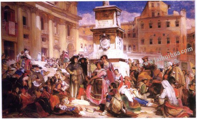 弗雷徳里克•刘易斯《罗马的复活节》 人物水彩画高清大图
