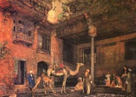 刘易斯《阿拉伯庭院》人物水彩画赏析