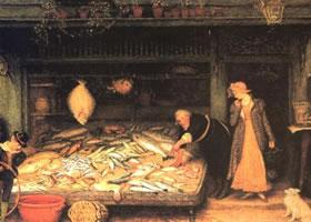 弗德列卡•瓦克《鱼店》人物水彩画赏析