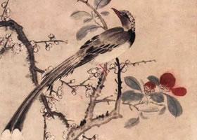 明代朱竺《梅茶山鹊图》轴欣赏