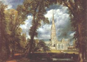 康斯泰布尔《从主教花园望索尔兹伯里教堂》名画赏析