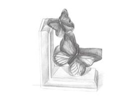 蝴蝶雕塑铅笔素描