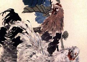 任伯年《蜀葵双鸡》立轴花鸟画赏析