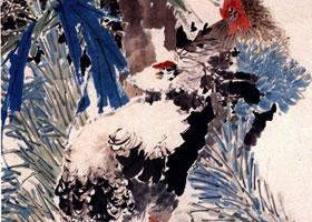 任伯年《棕阴群鸡》立轴花鸟画欣赏
