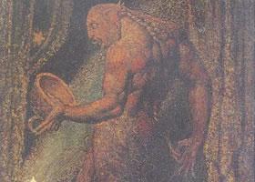 威廉•布莱克《跳蚤的鬼魂》蛋彩油画赏析