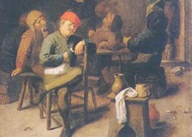 阿德里安•布劳弗尔《抽烟与喝酒的农民》油画赏析