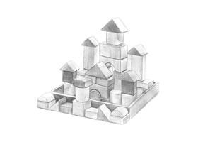 城堡积木铅笔素描