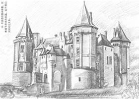古堡铅笔素描