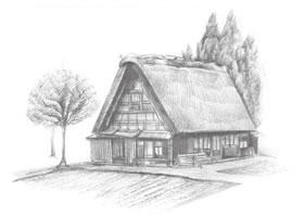乡村小屋铅笔素描