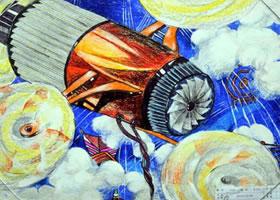 《高空风力发电机》科幻画欣赏