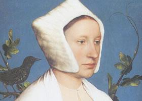 汉斯•荷尔拜因《与松鼠和八哥鸟在一起的女士》油画赏析