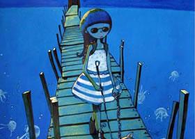 《导盲犬让我走近了月光下的大海》科幻画欣赏