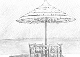 沙滩小景素描