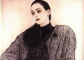舞蹈演员肖像工笔画
