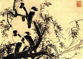 明代林良《秋林聚禽图》古画赏析