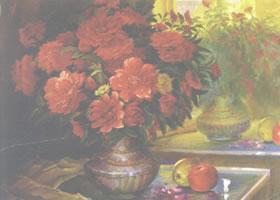 《镜前花瓶》水粉画作品欣赏