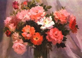 杨健健《月季花》水粉画作品欣赏