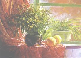 窗台上的黄野菊花水粉画作品欣赏