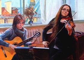 亚历山大•波洛索夫《家庭音乐会》油画欣赏