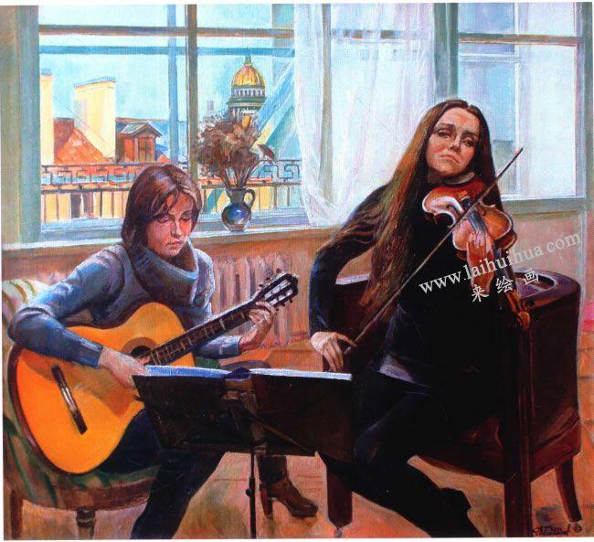 亚历山大•波洛索夫《家庭音乐会》油画高清大图