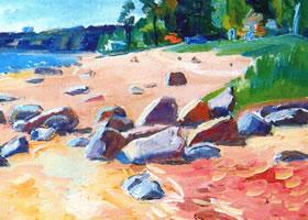 亚历山大•波洛索夫《玛依格茨塔海滩》油画欣赏