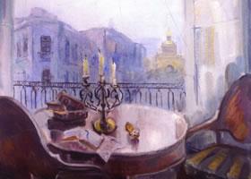 丽迪亚•大卫杰柯娃《诗人之窗》油画欣赏