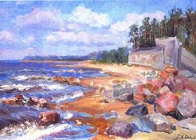 丽迪亚•大卫杰柯娃《芬兰湾》油画欣赏