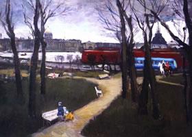 丽迪亚•大卫杰柯娃《早春街心花园》油画欣赏