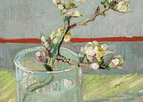 梵高《玻璃杯中的一枝杏仁花》布面油画欣赏