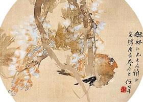任伯年《紫绶鸣禽》花鸟画欣赏