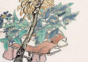 任伯年《晚香图》立轴花鸟画欣赏