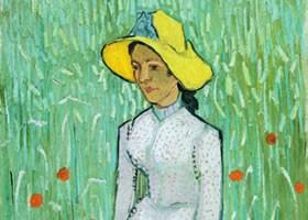 梵高《穿白衣的女孩》布面油画欣赏
