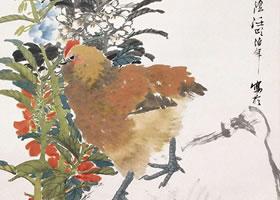 任伯年《凤仙鸡石图》立轴花鸟画欣赏