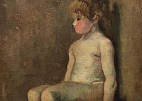 梵高《坐着的裸体女孩》布面油画欣赏
